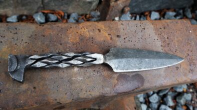 Letter knife forged by a railroad nail