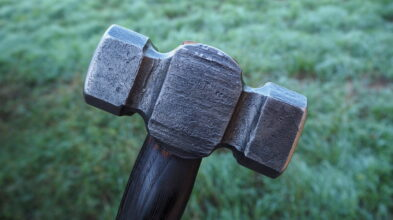 Rounding hammer forged from ballbearing steel.